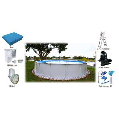 24 ft. Round x 52 in. D Above Ground Pool Package (6 Additional Items Included)
