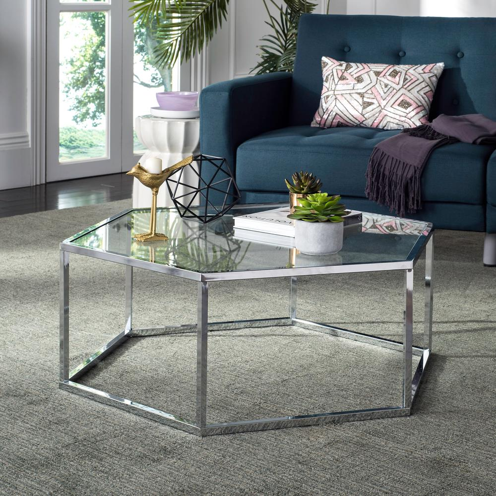 e89e29bf3a243 Safavieh Eliana Glass Chrome Coffee Table-MMT6003A - The Home Depot