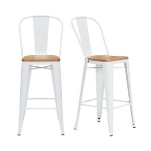 Enjoyable Stylewell Finwick White Metal Bar Stool With Back And Wood Short Links Chair Design For Home Short Linksinfo