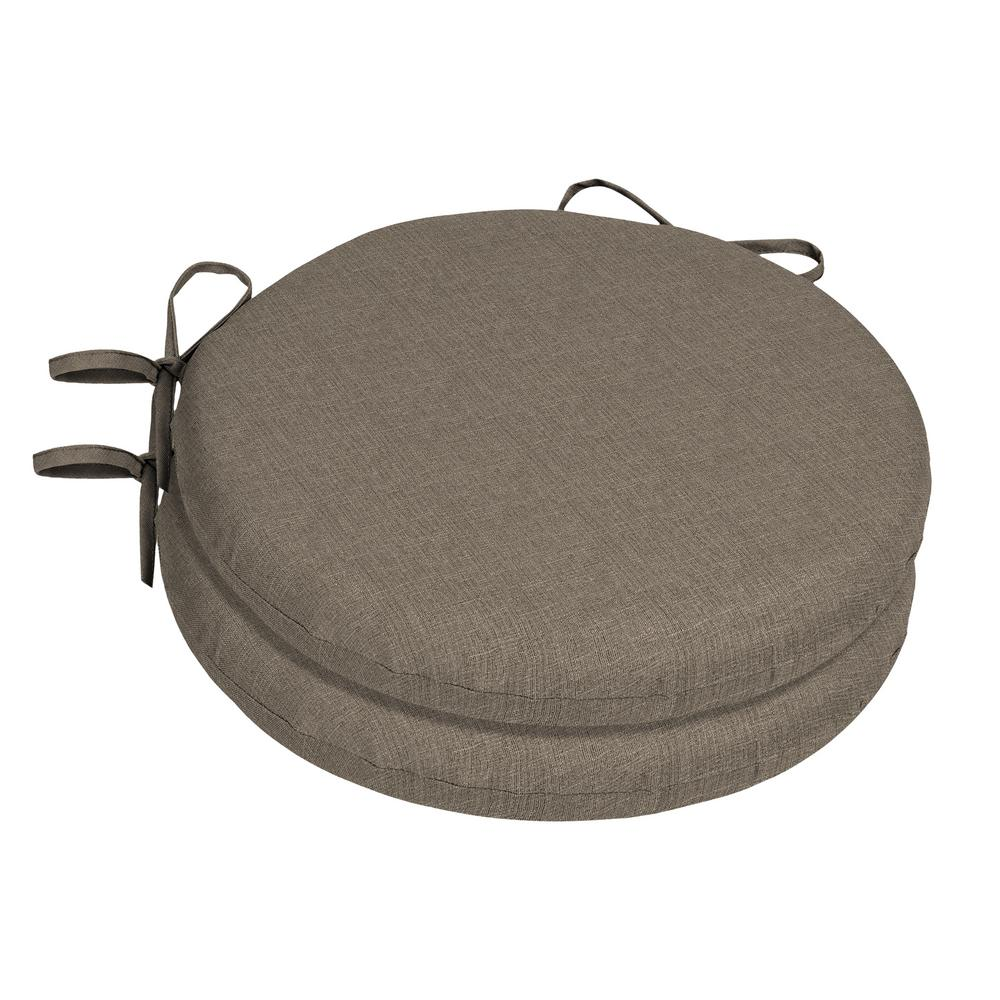 Home Decorators Collection Sunbrella Cast Shale Round Outdoor Seat Cushion  (2 Pack)