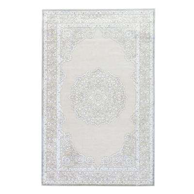 Machine Made Bright White 9 ft. x 12 ft. Medallion Area Rug