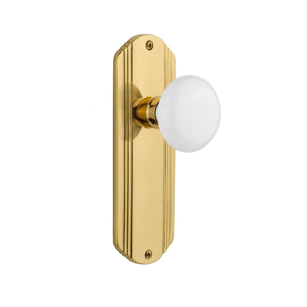 Deco Plate 2-3/8 in. Backset Polished Brass Privacy Bed/Bath White Porcelain Door Knob