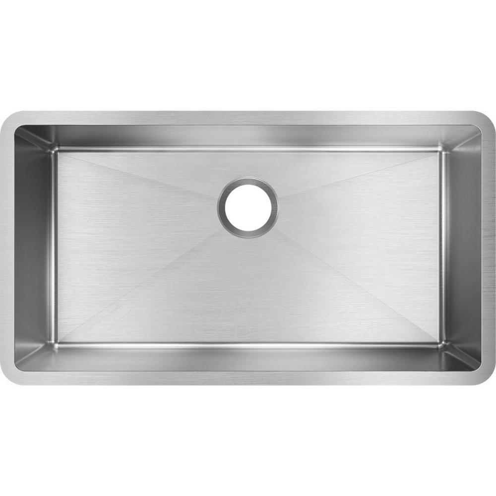 Crosstown Undermount Stainless Steel 33 in. Single Bowl Kitchen Sink