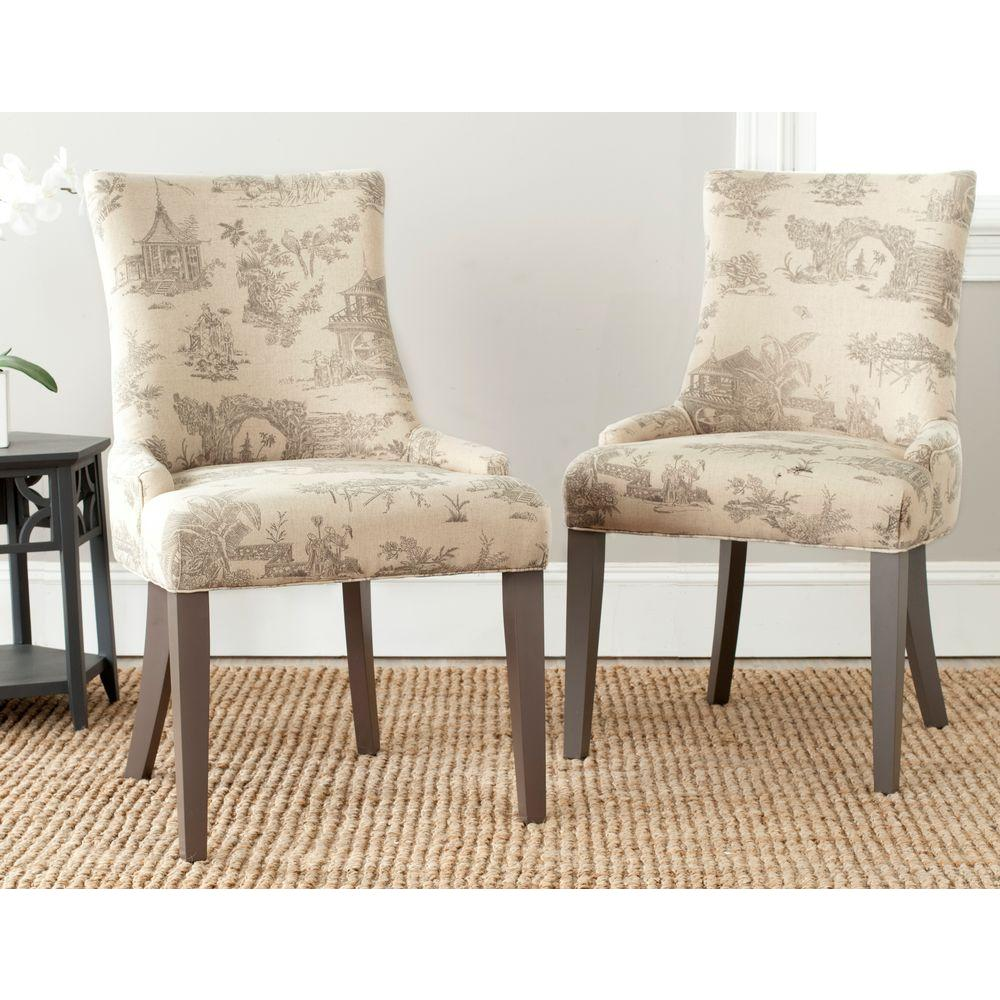 Safavieh Lester Taupe Cotton Linen Dining Chair Set Of 2