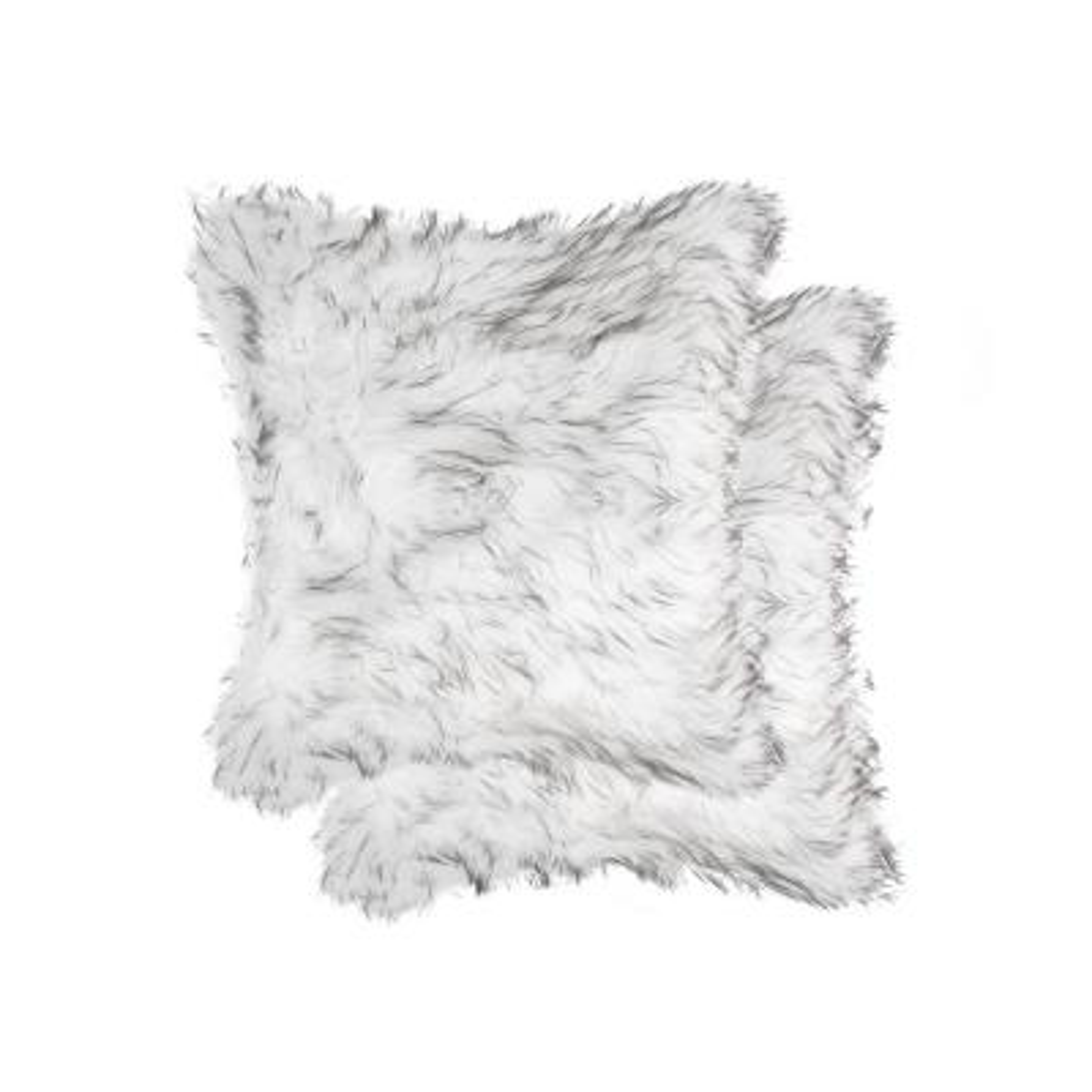 Belton Gradient Gray 18 in. x 18 in. Faux Sheepskin Decorative Pillow (Set of 2)