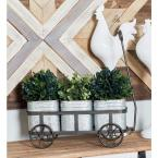 Litton Lane Silver Iron 3-Pot Wagon Planter with Gray Accents