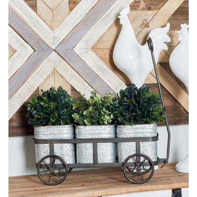 Silver Iron 3-Pot Wagon Planter with Gray Accents