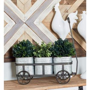 Click here to buy  Silver Iron 3-Pot Wagon Planter with Gray Accents.
