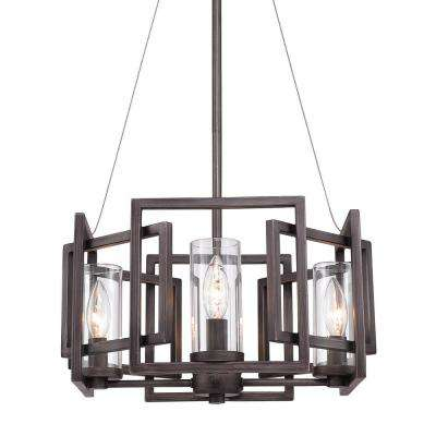 Marco 4 Light Pendant (Convertible) in Gunmetal Bronze with Clear Glass