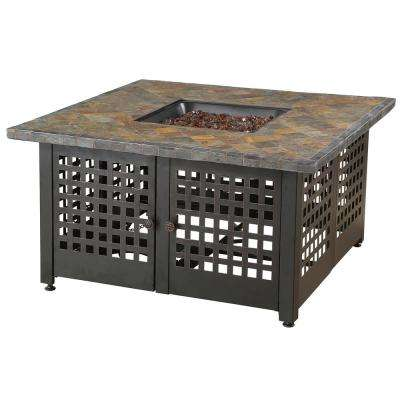 The Elizabeth 42 in. W x 22.5 in. H Square Tile/Marble Mantel LP Gas Outdoor Fire Pit