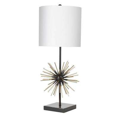 Devon Metal Starbust 27 in. Black Table Lamp with Shade