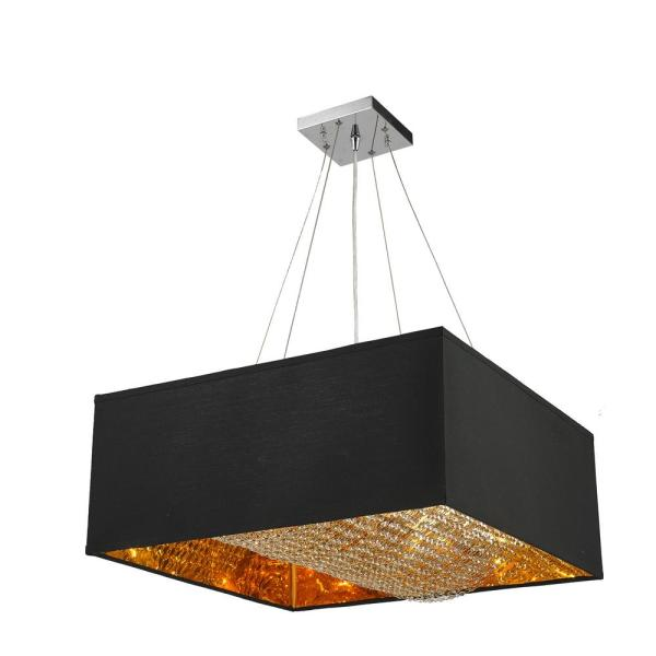 Ritz 8-Light Matte Gold Square Pendant with Black Linen Shade