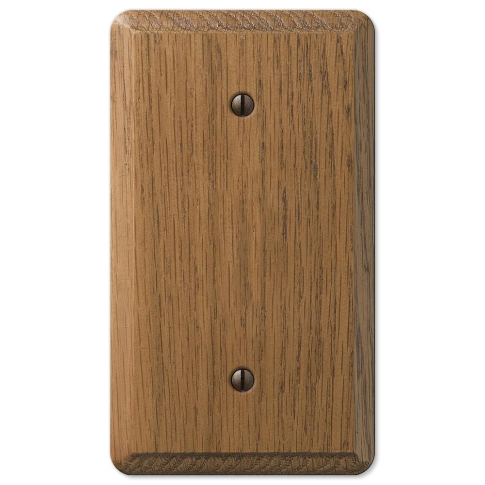 AMERELLE Contemporary 1 Gang Blank Wood Wall Plate - Medium Oak