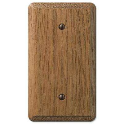Contemporary 1 Gang Blank Wood Wall Plate - Medium Oak