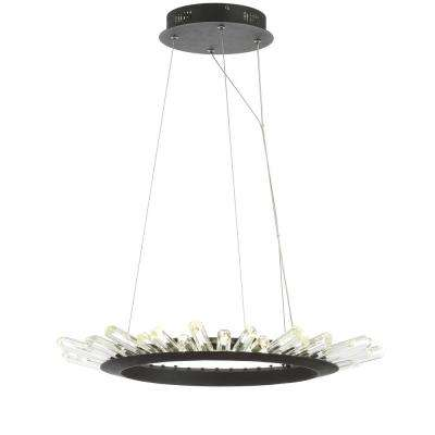 Elsa 24 in. Black/Clear Adjustable Integrated LED Modern Crystal Pendant
