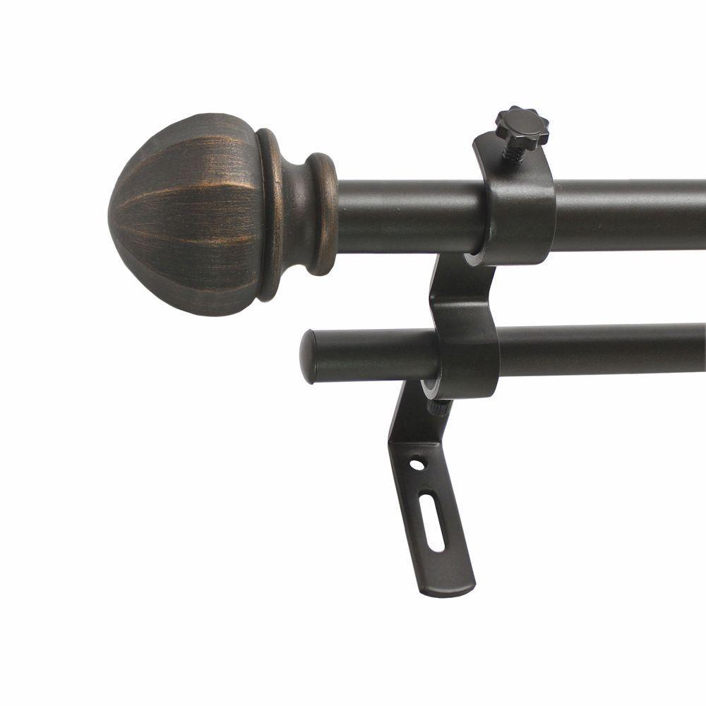 Montevilla 26 in. - 48 in. 5/8 in. Facet Ball Double Rod Set in Vintage Bronze