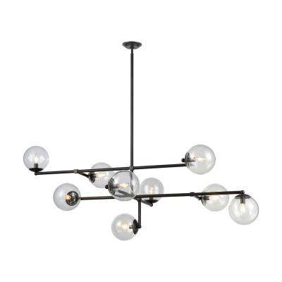 Communique 9-Light Oiled Bronze Chandelier with Clear Glass Shade