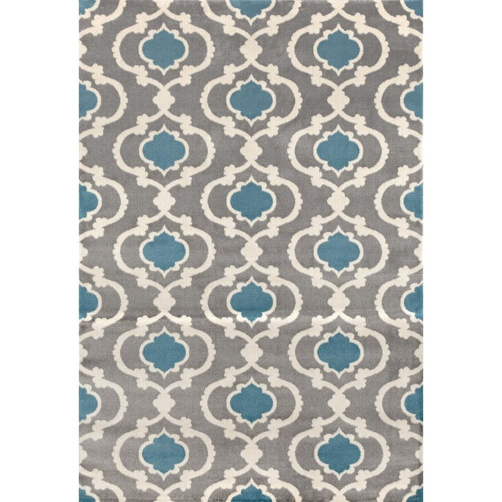 Moroccan Trellis Contemporary Gray/Blue 7 Ft. 10 In. X 10 Ft.