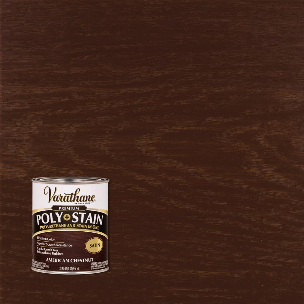 Varathane 1 Qt American Chestnut Satin Oil Based Interior Polyurethane And Stain 339613 The