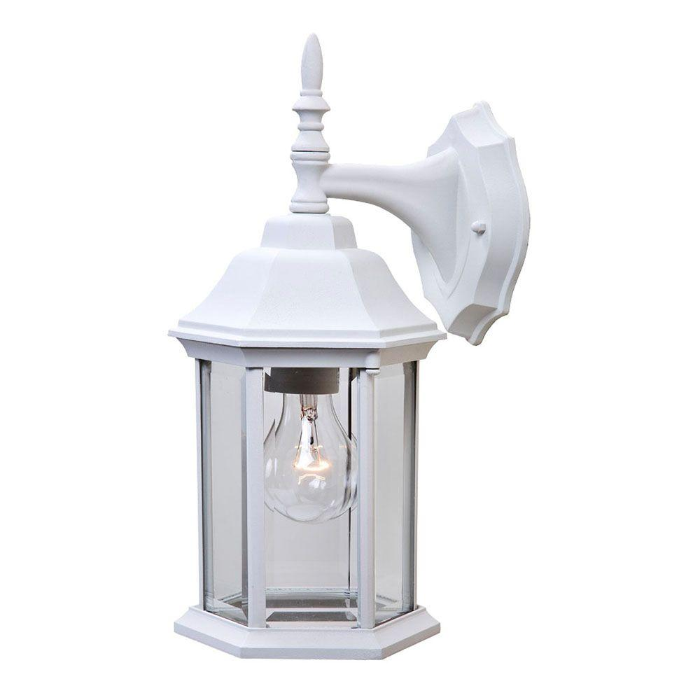Craftsman 2 Collection 1-Light Textured White Outdoor Wall Lantern Sconce
