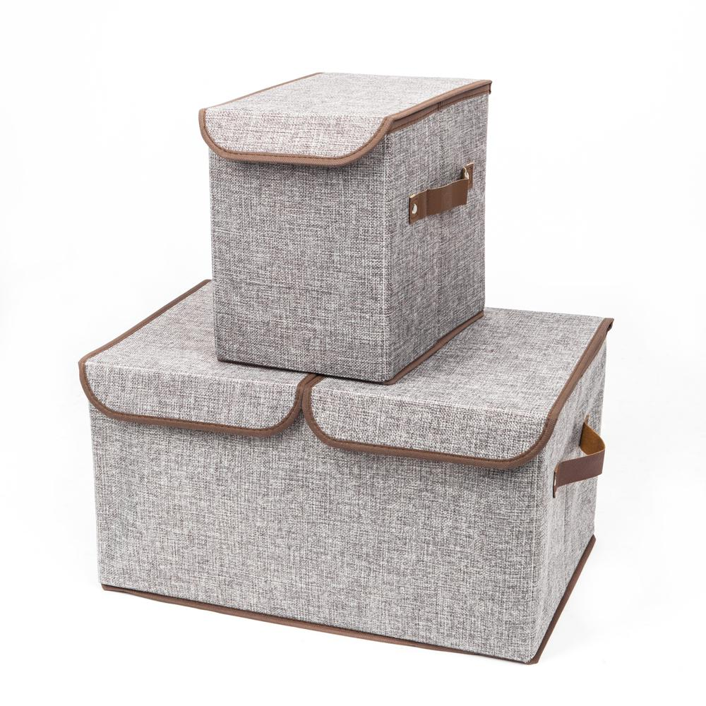 Attirant Gray Fabric Storage Boxes Double Cover Box And Single Cover Box (2 Piece)