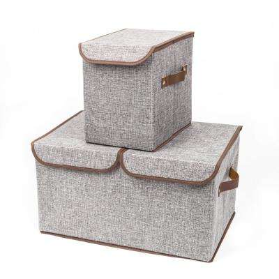 Gray Fabric Storage Boxes Double Cover Box and Single Cover Box (2-Piece)