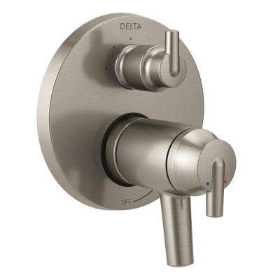 2-Handle Wall-Mount Valve Trim Kit with 3-Setting Integrated Diverter in Stainless (Valve Not Included)