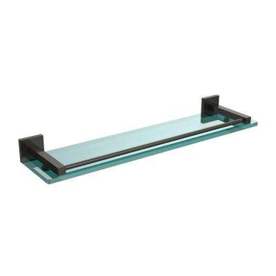 Montero 22 in. L  x 2 in. H  x 5-3/4 in. W Clear Glass Vanity Bathroom Shelf with Gallery Rail in Oil Rubbed Bronze