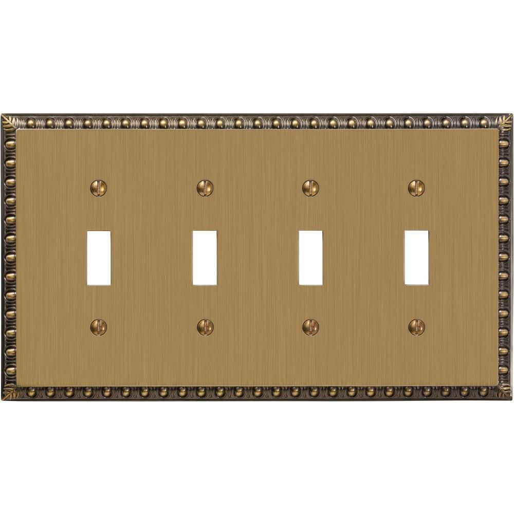 Amerelle Renaissance 4 Toggle Wall Plate - Brushed Brass