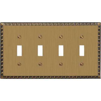 Renaissance 4 Toggle Wall Plate - Brushed Brass