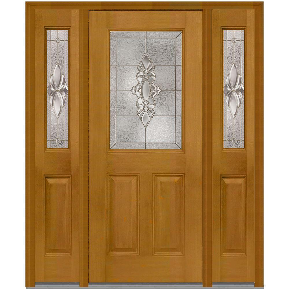 MMI Door 64 in. x 80 in. Heirloom Master Left-Hand 1/2-Lite Decorative Fiberglass Mahogany Prehung Front Door with Sidelites