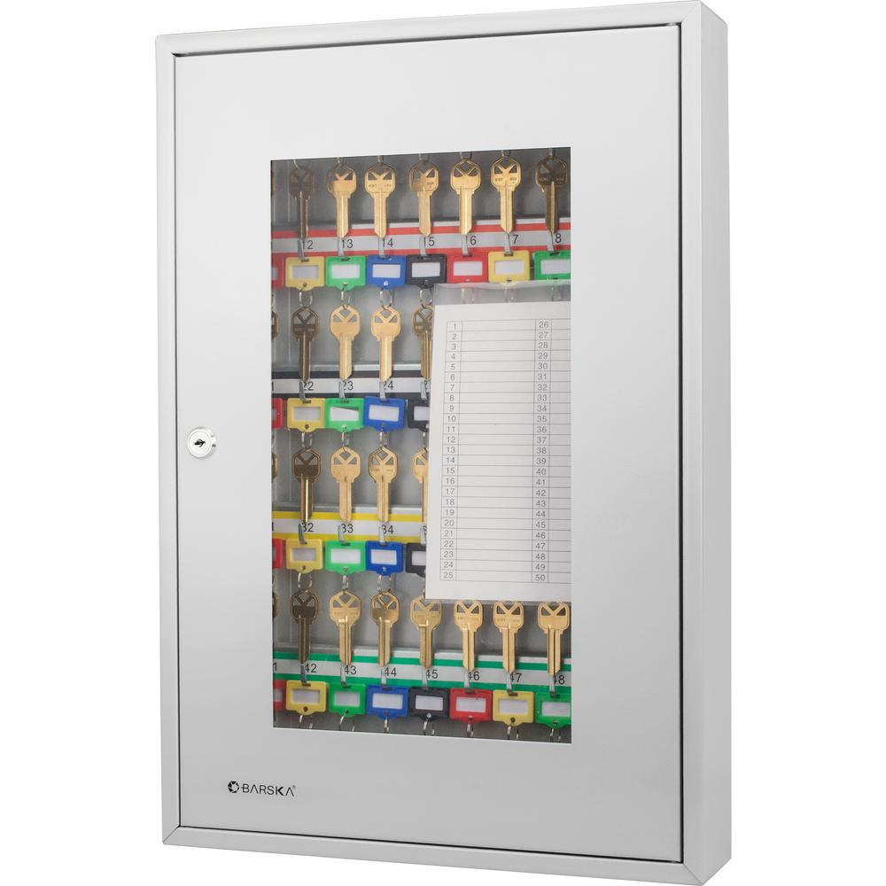 50-Position Steel Key Cabinet with Glass Door, Grey