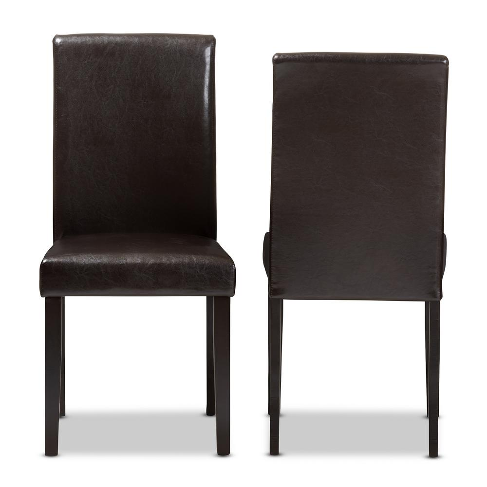 Baxton Studio Mia Dark Brown Faux Leather Dining Chair Set Of 2
