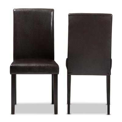 Mia Dark Brown Faux Leather Dining Chair (Set of 2)