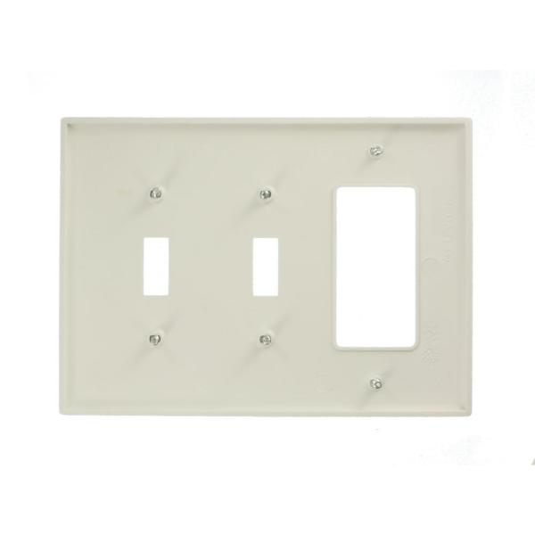 Leviton White 3 Gang 2 Toggle 1 Decorator Rocker Wall Plate 1 Pack R52 Pj226 00w The Home Depot