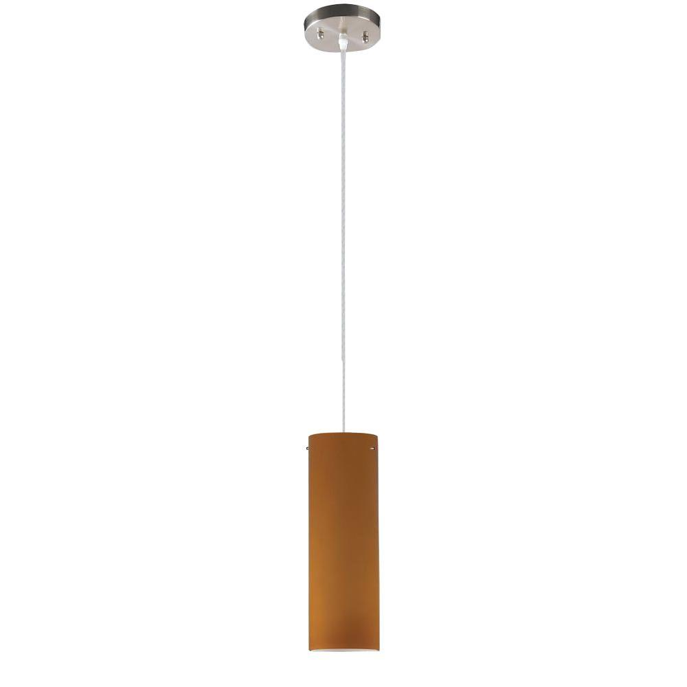 null Peak Collection 1-Light Nickel Pendant with Amber Glass