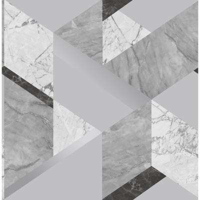 8 in. x 10 in. Elvira Grey Marble Geometric Wallpaper Sample