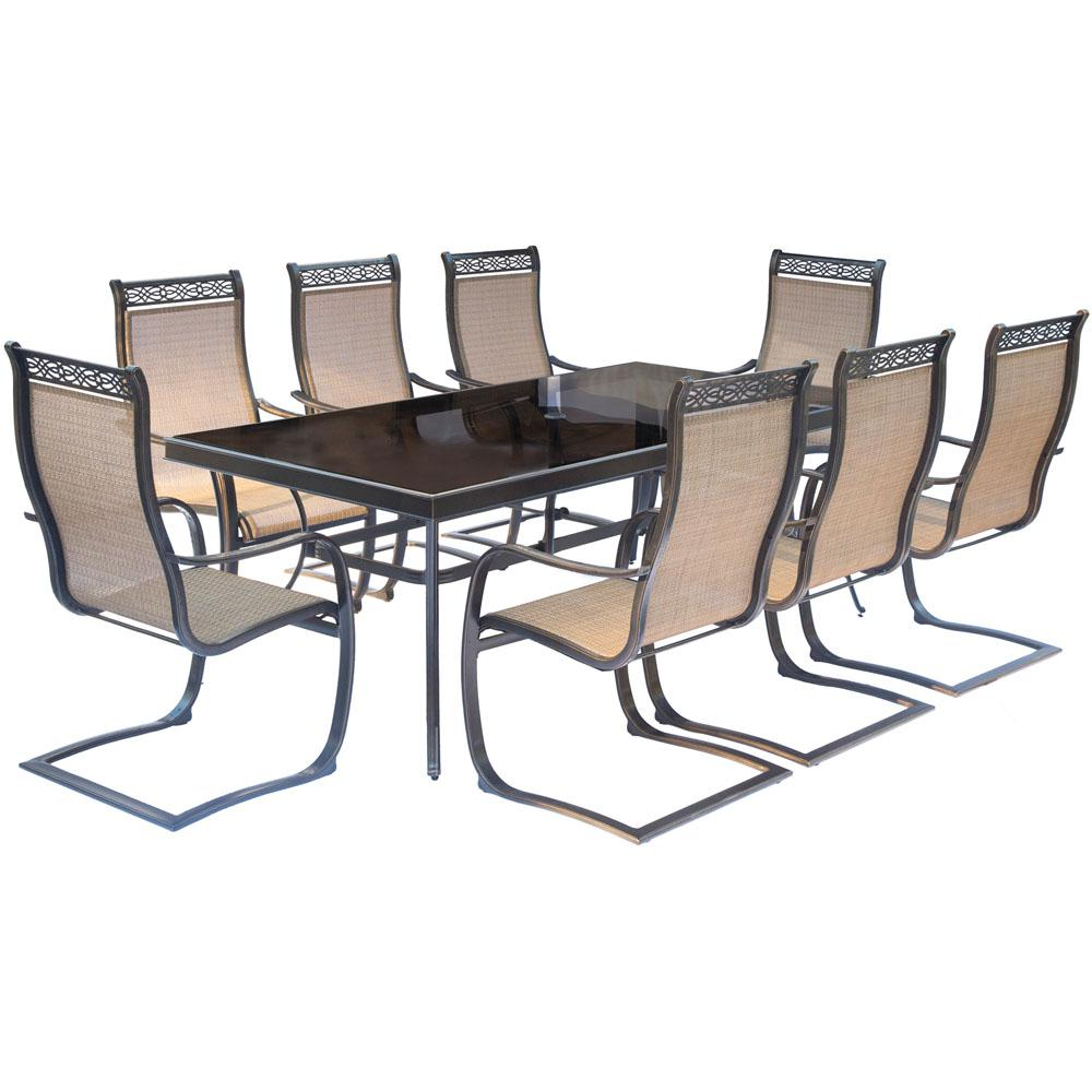 Monaco 9 Piece Aluminum Outdoor Dining Set With Rectangular Glass Top Table And Contoured Sling Spring Chairs