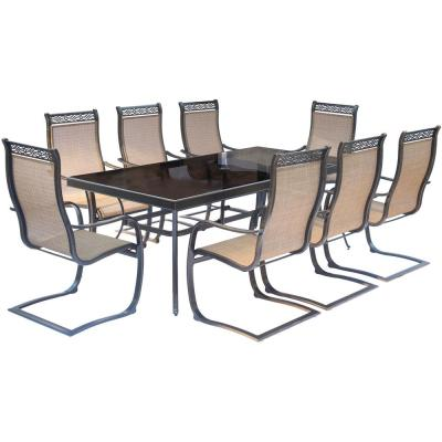 Monaco 9-Piece Aluminum Outdoor Dining Set with Rectangular Glass-Top Table and Contoured Sling Spring Chairs