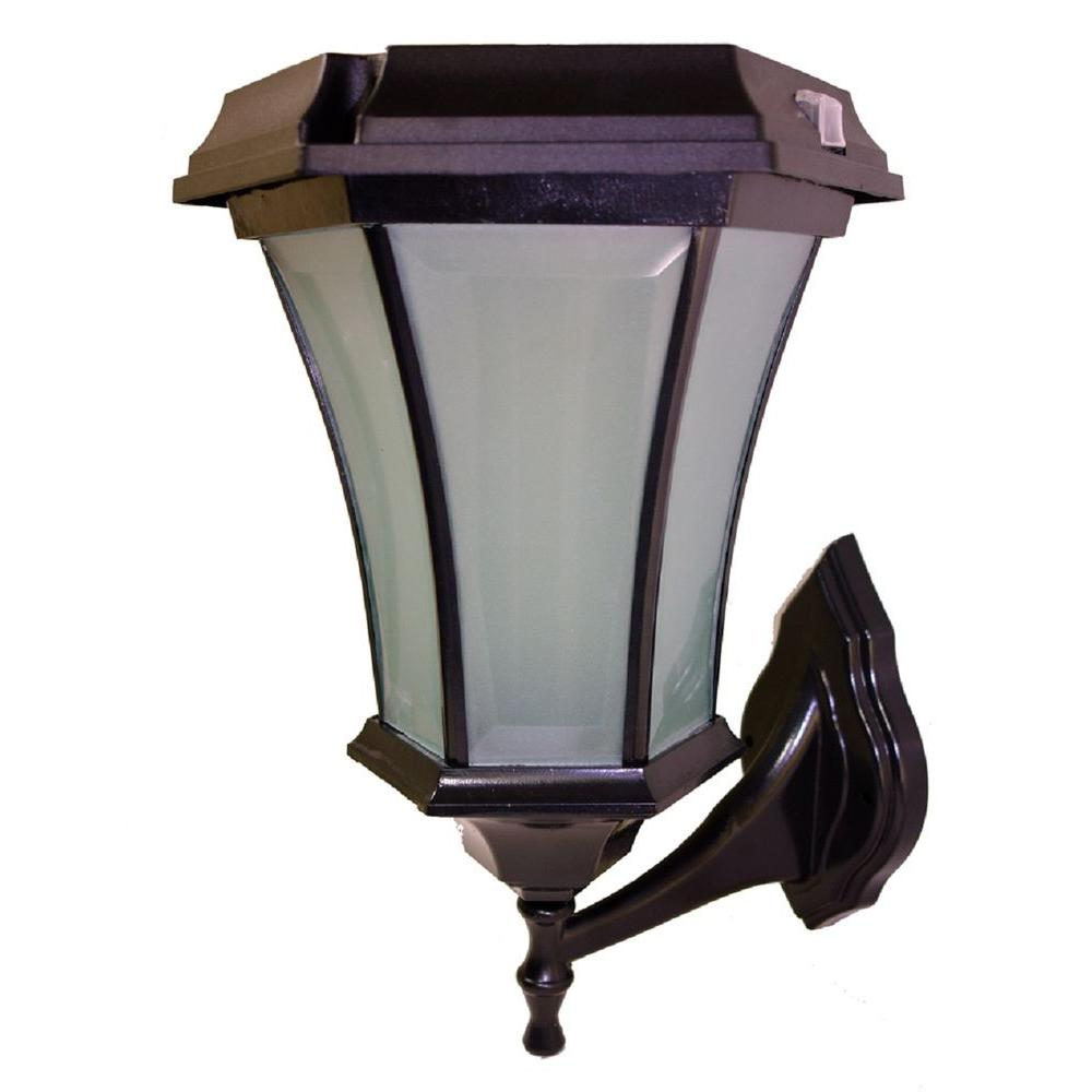 Solar Goes Green Solar Black LED Outdoor Warm White Coach Light Sconce with Concave Glass Panels and Wall Mount