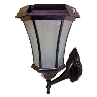 Solar Black LED Outdoor Warm White Coach Light with Concave Glass Panels and Wall Mount