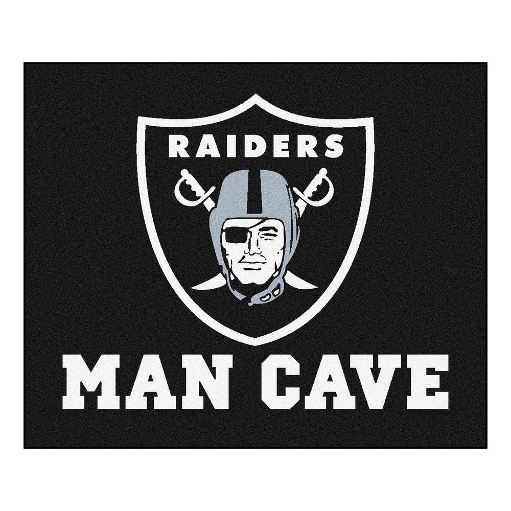 Fanmats Oakland Raiders Black Man Cave 5 Ft X 6 Ft Area