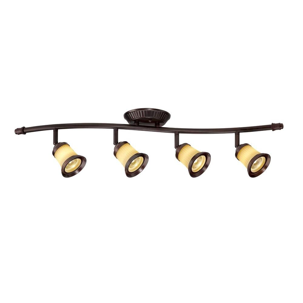 Hampton Bay 4 Light Antique Bronze Track Lighting With Wave Bar