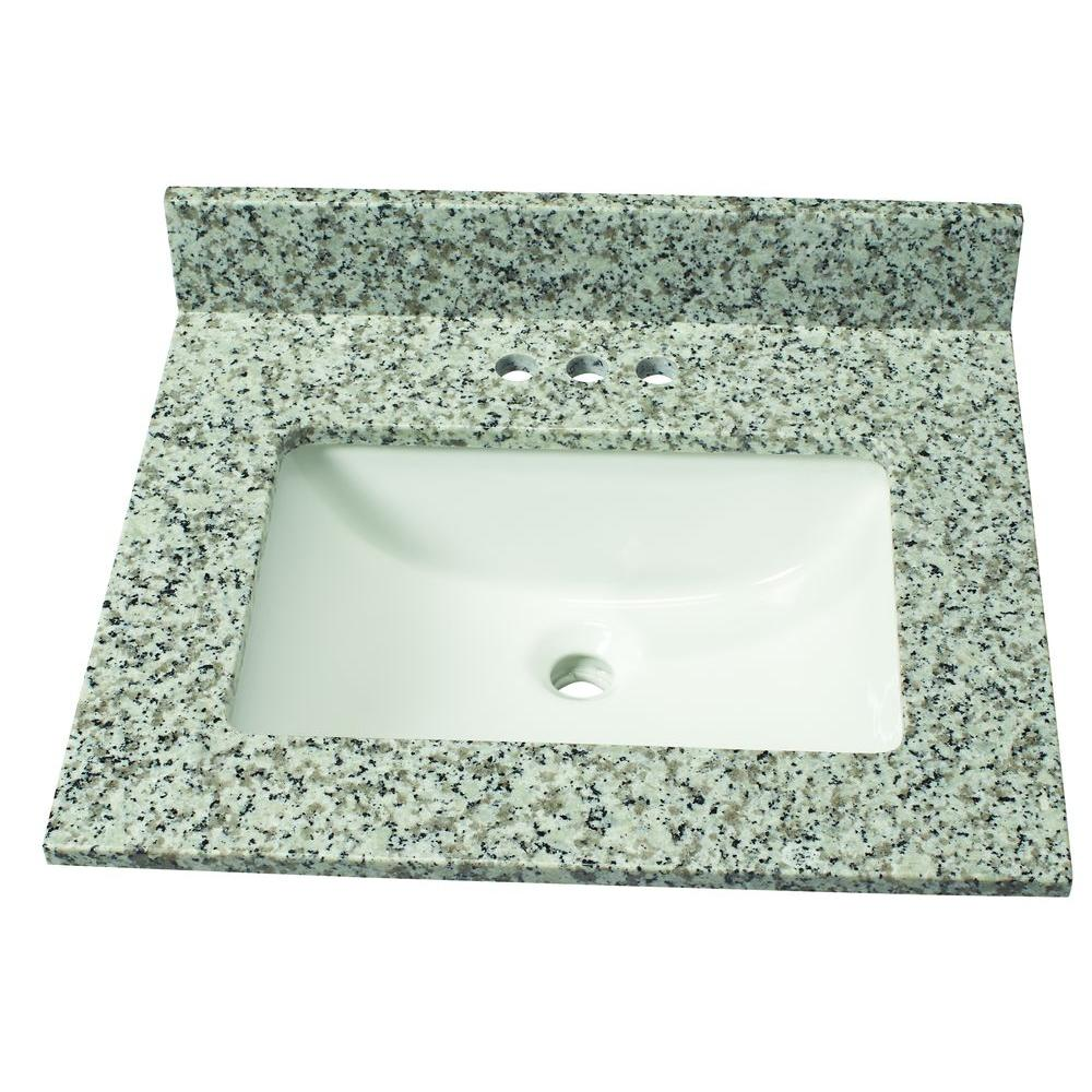 25 in. W Granite Single Basin Vanity Top in Blanco Taupe