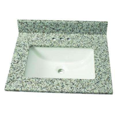 25 in. W Granite Single Basin Vanity Top in Blanco Taupe with White Basin