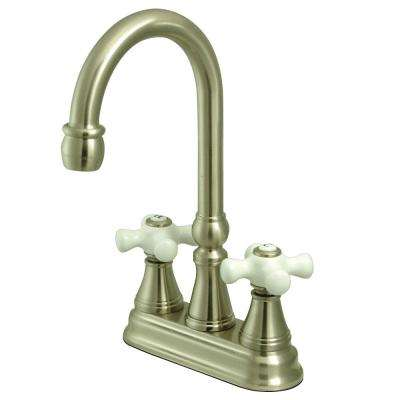 Classic 2-Handle Bar Faucet with Porcelain Handles in Satin Nickel