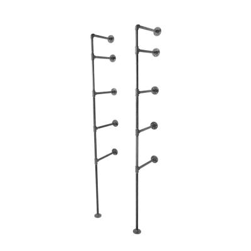1/2 in. Black Steel Pipe 11.75 in. D x 72.5 in. H Floor Mounted 4-Tier Shelf Kit