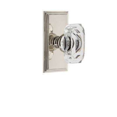Carre Plate Double Dummy with Baguette Crystal Door Knob in Polished Nickel