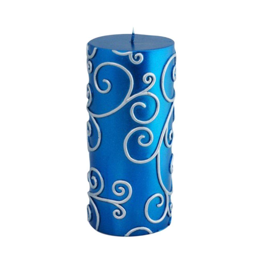 3 in. x 6 in. Blue Scroll Pillar Candle Bulk (12-Case)