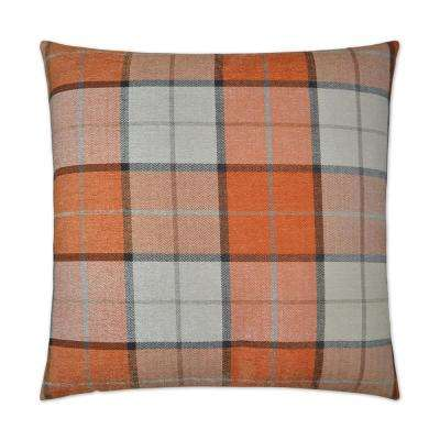Penn Plaid Orange Feather Down 24 in. x 24 in. Decorative Throw Pillow